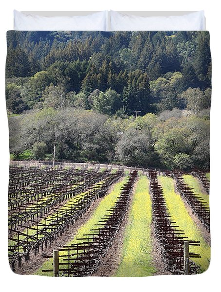 California Vineyards In Late Winter Just Before The Bloom 5D22051 Duvet Cover by Wingsdomain Art and Photography