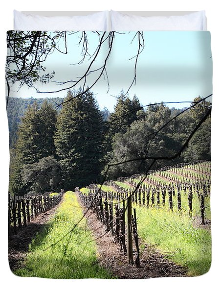 California Vineyards In Late Winter Just Before The Bloom 5d22053 Duvet Cover by Wingsdomain Art and Photography