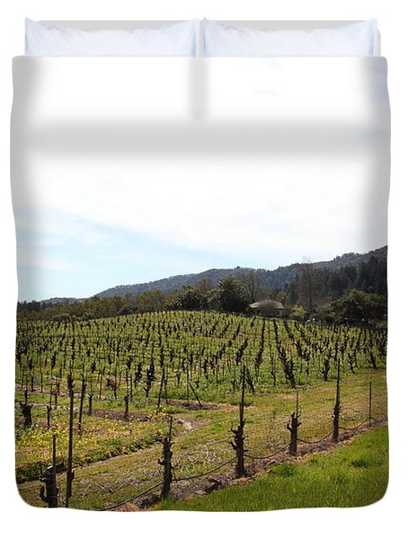 California Vineyards In Late Winter Just Before The Bloom 5D22114 Duvet Cover by Wingsdomain Art and Photography
