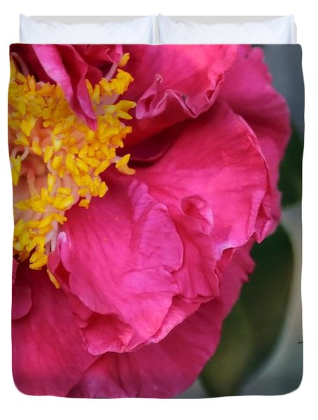 Camellia with Bee Duvet Cover by Carol Groenen