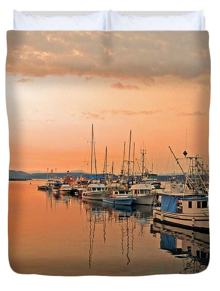 Campbell River Marina Duvet Cover by Nancy Harrison