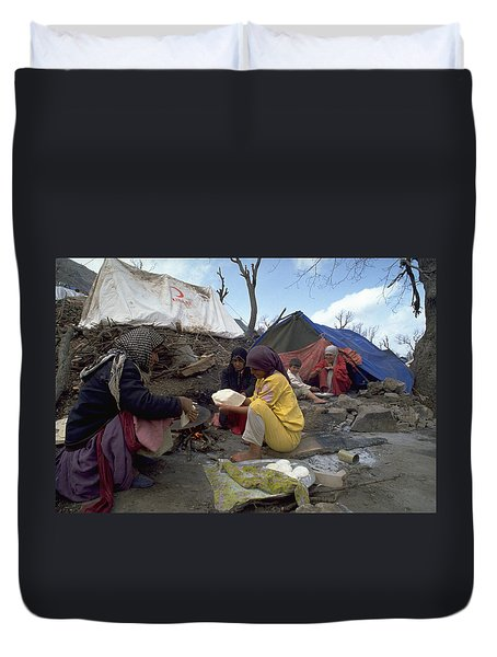 Duvet Cover featuring the photograph Camping In Iraq by Travel Pics