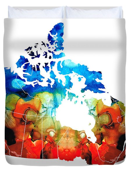 Canada - Canadian Map By Sharon Cummings Duvet Cover by Sharon Cummings