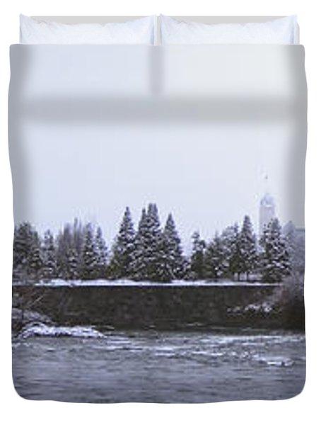 Canada Island And Spokane River Duvet Cover by Daniel Hagerman