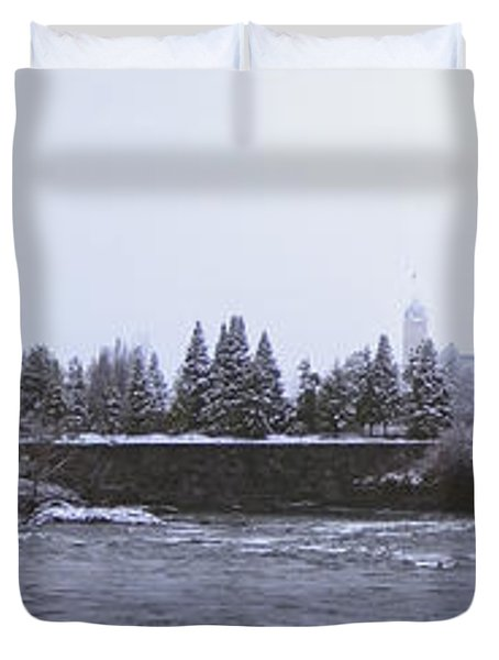 CANADA ISLAND and SPOKANE RIVER Duvet Cover by Daniel Hagerman