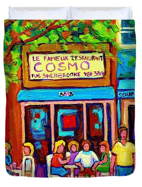 Canadian Artists Montreal Paintings Cosmos Restaurant Sherbrooke Street West Sidewalk Cafe Scene Duvet Cover by Carole Spandau