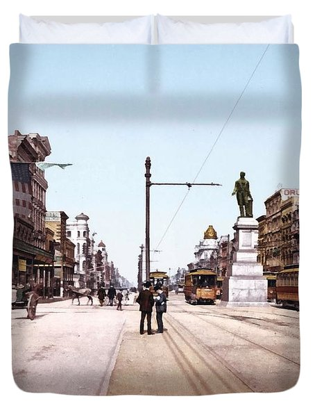 Canal Street New Orleans 1900 Duvet Cover by Unknown