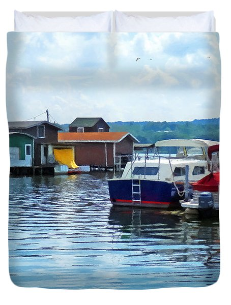 Canandaigua Fishing Shacks Duvet Cover by Susan Savad