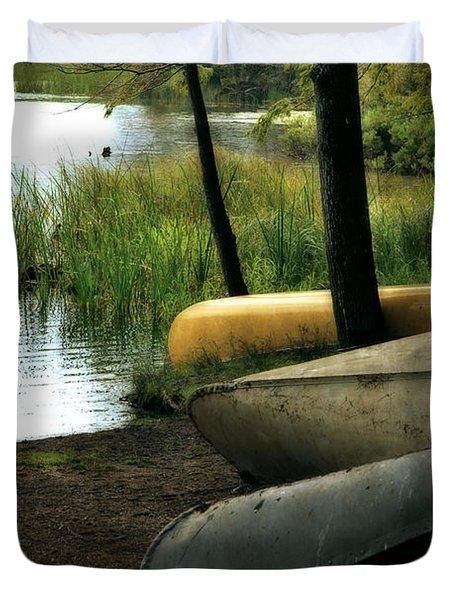 Canoe Trio Duvet Cover by Michelle Calkins