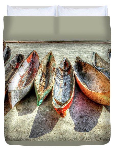 Canoes Duvet Cover by Debra and Dave Vanderlaan