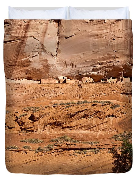 Canyon Dechelly Whitehouse Ruins Duvet Cover by Bob and Nadine Johnston