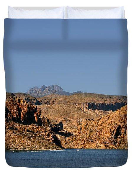 Canyon Lake Of Arizona - Land Big Fish Duvet Cover by Christine Till