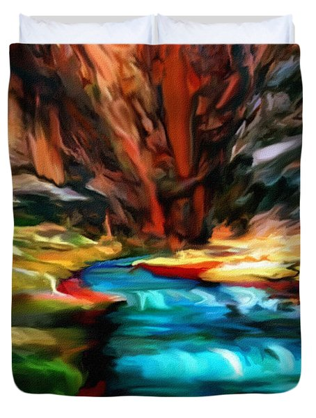 Canyon Waterfall Impressions Duvet Cover by  Bob and Nadine Johnston