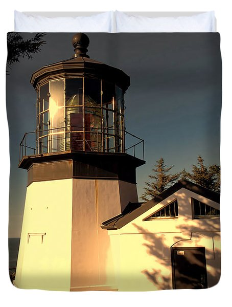Cape Meares Lighthouse Duvet Cover by Jon Burch Photography