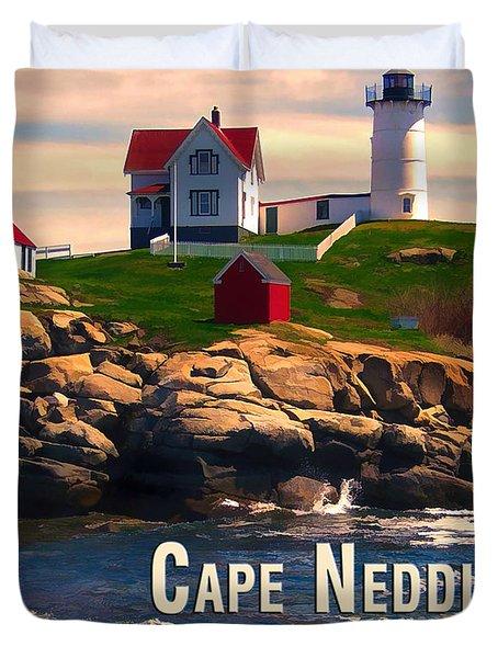 Cape Neddick Lighthouse  At Sunset  Duvet Cover by Elaine Plesser