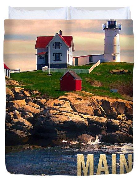 Cape Neddick Lighthouse Maine  At Sunset Duvet Cover by Elaine Plesser