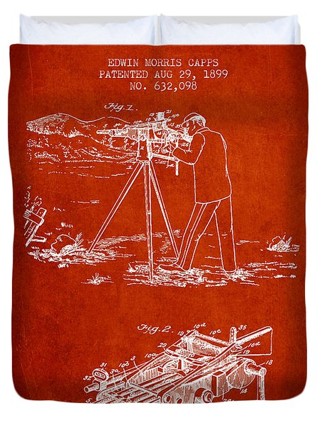 Capps Machine Gun Patent Drawing From 1899 - Red Duvet Cover by Aged Pixel