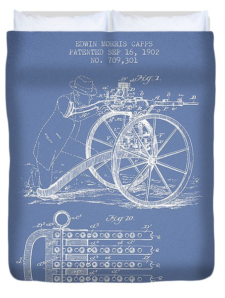Capps Machine Gun Patent Drawing From 1902 - Light Blue Duvet Cover by Aged Pixel