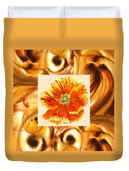 Cappuccino Abstract Collage Poppy Duvet Cover by Irina Sztukowski