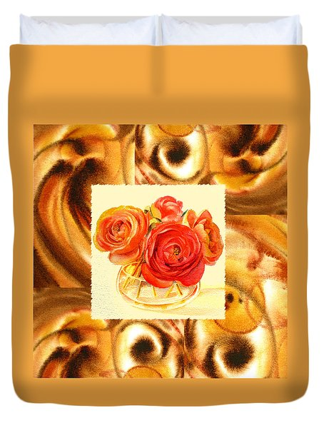 Cappuccino Abstract Collage Ranunculus   Duvet Cover by Irina Sztukowski