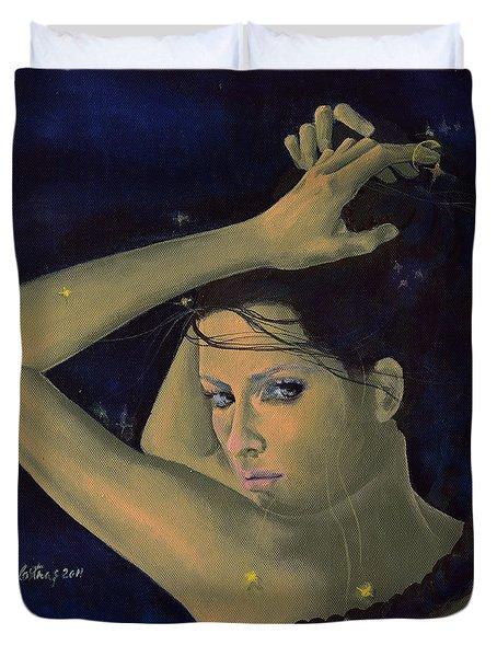 Capricorn from Zodiac series Duvet Cover by Dorina  Costras