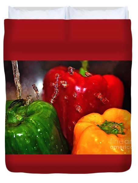 Capsicum In The Wash Duvet Cover by Kaye Menner
