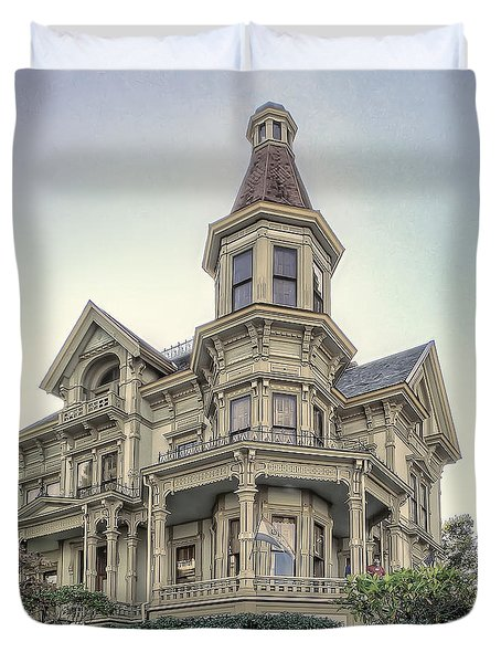 Captain George Flavel Victorian House - ASTORIA OREGON Duvet Cover by Daniel Hagerman