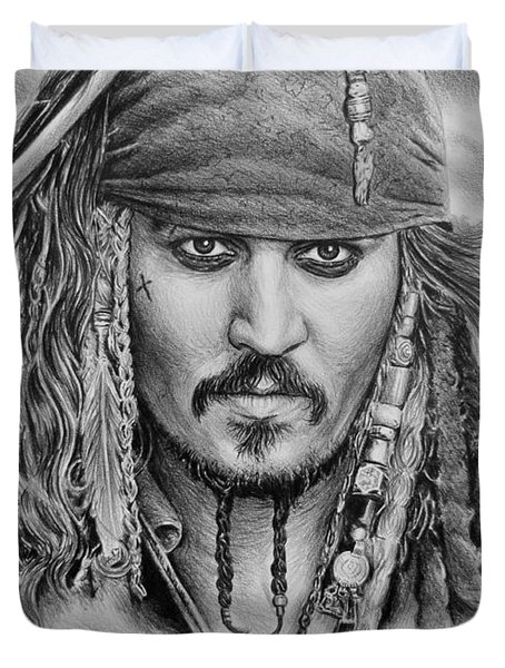 Captain Jack Sparrow Duvet Cover by Andrew Read
