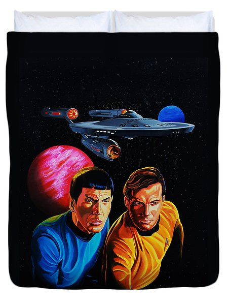 Captain Kirk And Mr. Spock Duvet Cover by Robert Steen