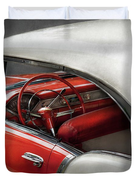Car - Classic 50's  Duvet Cover by Mike Savad