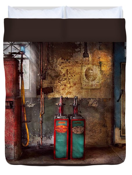 Car - Station - Gas Pumps Duvet Cover by Mike Savad