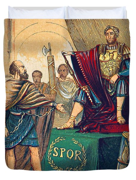 Duvet Cover featuring the photograph Caractacus Before Emperor Claudius, 1st by British Library