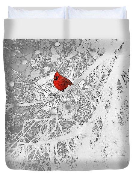 Cardinal In Winter Duvet Cover by Ellen Henneke