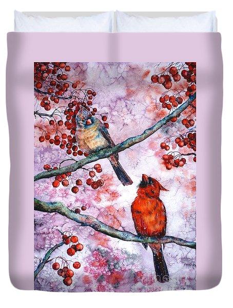 Cardinals  Duvet Cover by Zaira Dzhaubaeva