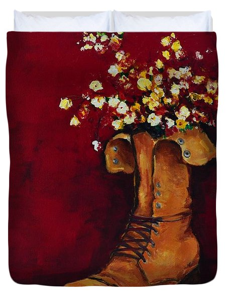 Cargo Boot Series Unusual Flower Pot Duvet Cover by Patricia Awapara