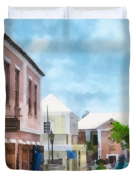 Caribbean - A Street In St. George's Bermuda Duvet Cover by Susan Savad