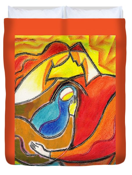 Caring Duvet Cover by Leon Zernitsky