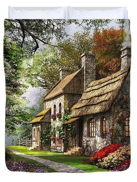 Carnation Cottage Duvet Cover by Dominic Davison