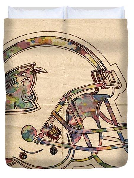 Carolina Panthers Logo Art Duvet Cover by Florian Rodarte