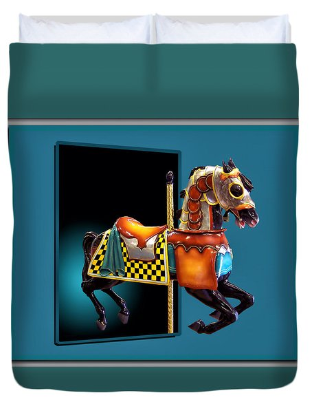 Carousel Horse Left Side Duvet Cover by Thomas Woolworth