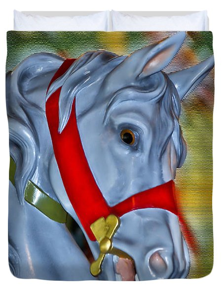Carousel Horse Red Bridle Duvet Cover by Thomas Woolworth
