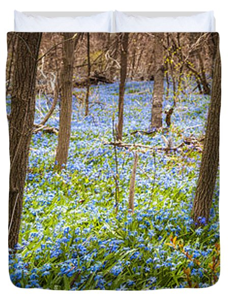 Carpet of blue flowers in spring forest Duvet Cover by Elena Elisseeva