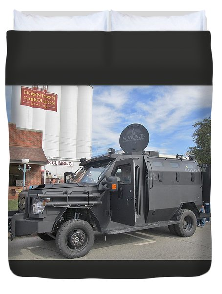 CARROLLTON TEXAS POLICE VEHICLE Duvet Cover by Donna Wilson