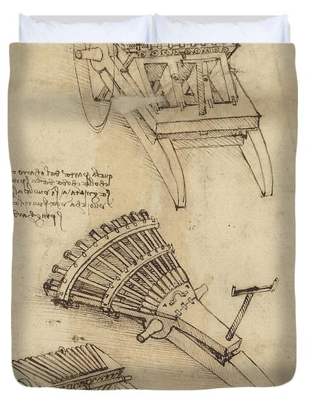 Cart And Weapons From Atlantic Codex Duvet Cover by Leonardo Da Vinci