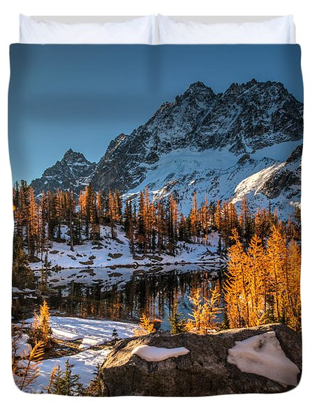 Cascades Ring Of Larches Duvet Cover by Mike Reid