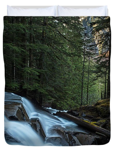 Cascading Mountain Falls Duvet Cover by Mike Reid