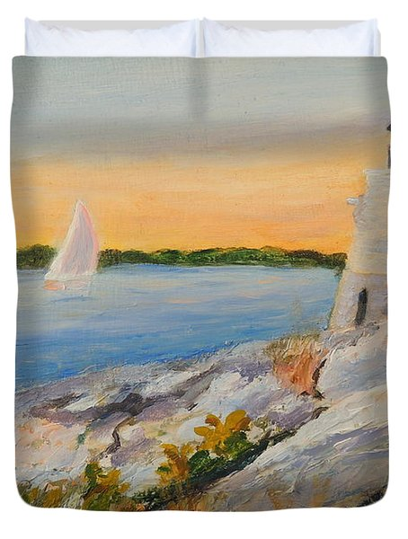 Castle Hill Light House Newport Ri Duvet Cover by Patty Kay Hall