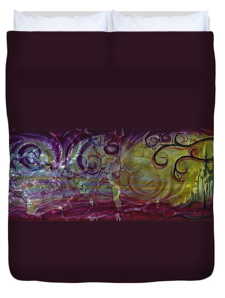 Castle Of Eden Duvet Cover by Luis  Navarro