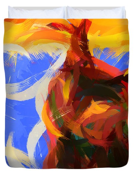Cat abstract art Duvet Cover by Pixel Chimp