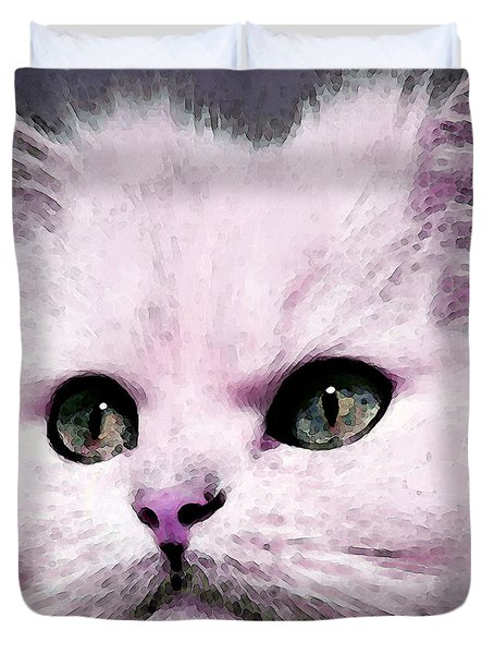 Cat Art - My Eyes Adore You Duvet Cover by Sharon Cummings